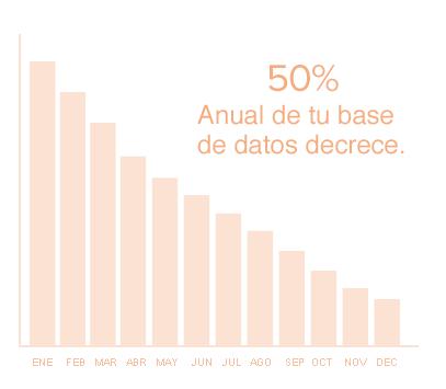 50% anual de bases de datos decrece